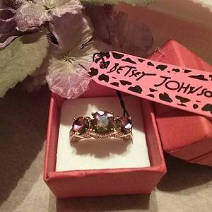 Betsy Johnson rainbow sapphire ring
